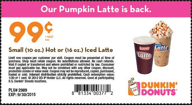 Dunkin donuts coupons printable coupons online for Coupon gratis