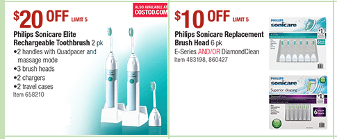 Printable coupon for sonic toothbrush