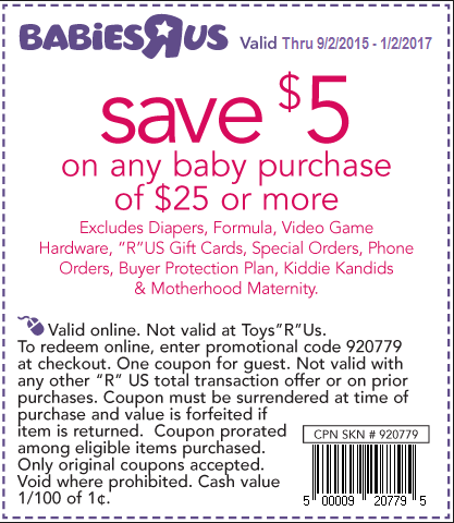 Babies R Us is one of the largest retailers of infant and baby toys, clothing, supplies and furniture in the United States. They are proud to carry top baby care brands including Huggies, Pampers, Johnson's, Aveeno, DaVinci Furniture, Dream On Me, Graco, Baby Bjorn, Gerber, Earth's Best, Osh Kosh, Koala Kids, Burt's Bees, Carter's, Disney Baby, Evenflo, Chicco, Fisher-Price, 4moms and many more.