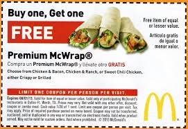 How to use a Mcdonalds coupon McDonalds has the fast food you are looking for with a great selection. Besides burgers, all types of frozen treats have been added to the menu. Find coupons online that will save you money on your next order. Find an online coupon for a buy one get one free frappe, smoothie or chiller.