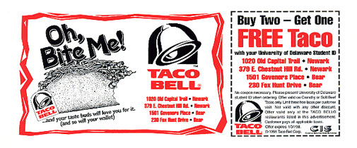 Taco bell food coupons