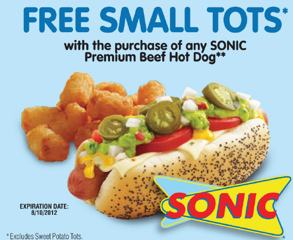 Sonic printable coupons