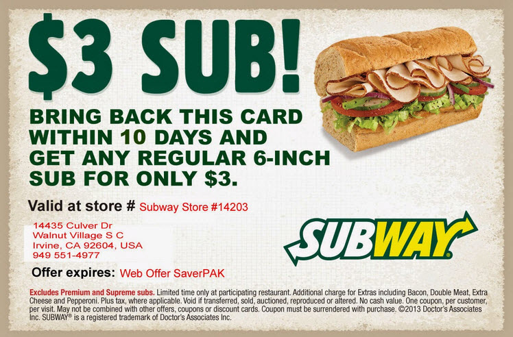 Save With Email Sign-Up From Subway