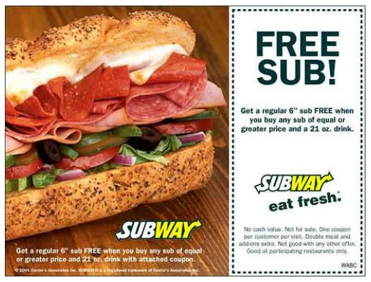 Subway cell phone coupons