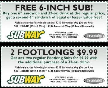 photo about Printable Subway Menu titled no cost Subway Menu Discount codes (6) Printable Coupon codes On the web