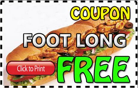 Subway footlong coupons