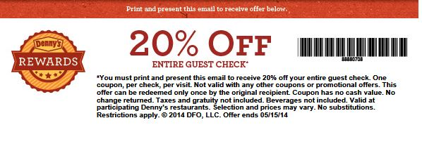 Denny's discount coupons