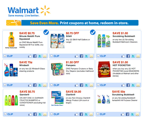 internet coupons for walmart