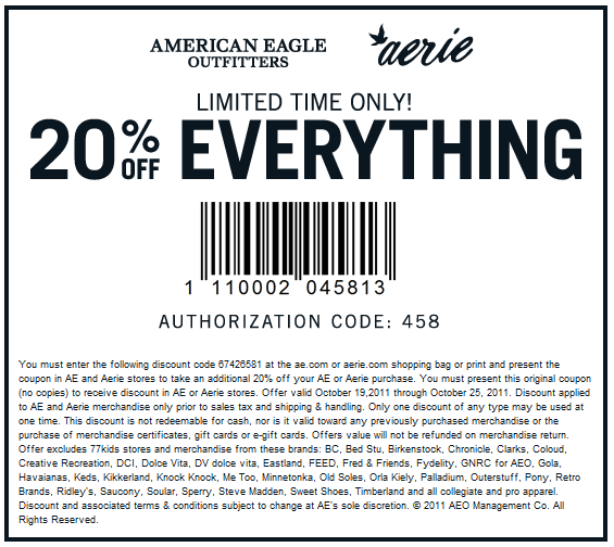How to Use Coupons and Codes. American Eagle Tips & Tricks American Eagle shoppers can get exclusive offers by signing up for emails. American Eagle has an expansive clearance section with items on sale up to 50% off at all times. How to get Free Shipping at American Eagle.