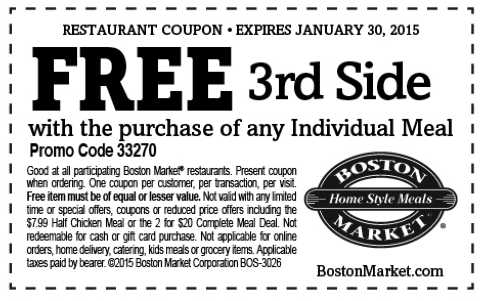 graphic regarding Printable Boston Market Coupons identify Boston Market place Coupon codes 2015 (3) Printable Discount coupons On the web