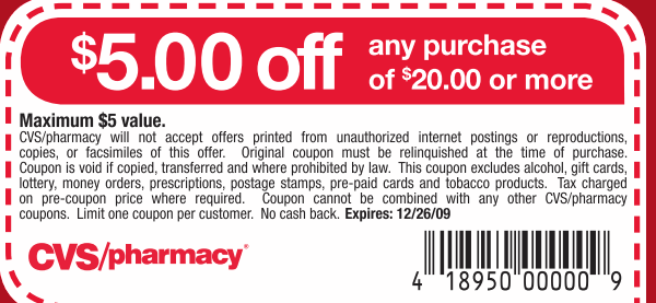 picture about Cvs Printable Coupons called CVS Discount coupons 5 money off Printable Discount coupons On the web
