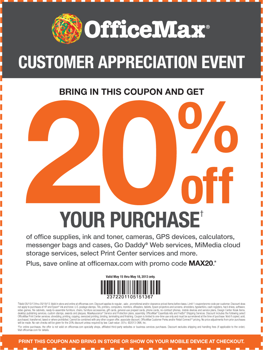 Officemax Coupon Codes. starke.ga Current Officemax Coupons. Connect with Officemax. You are viewing current starke.ga coupons and discount promotions for December For more about this website, and its current promotions connect with them on Twitter @OfficeMax, or Facebook, or Pinterest. About.