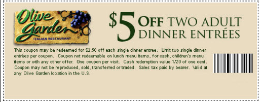 Olive Garden Coupons Free 2015 4
