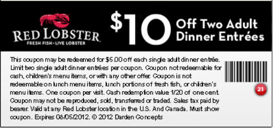 Red Lobster Seafood Restaurant 10 Off Any Two Adult