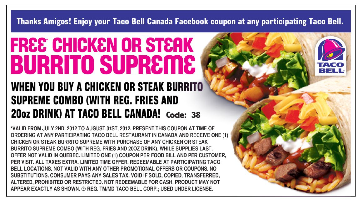 photo about Taco Bell Printable Menu called Taco Bell Printable Coupon codes 2015 legitimate continual (6