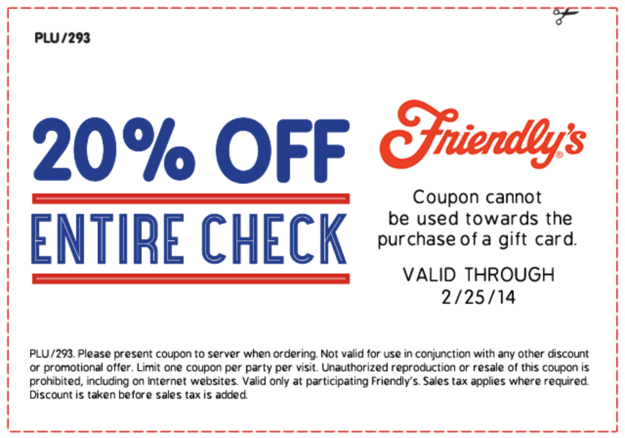 Friendlys online coupon
