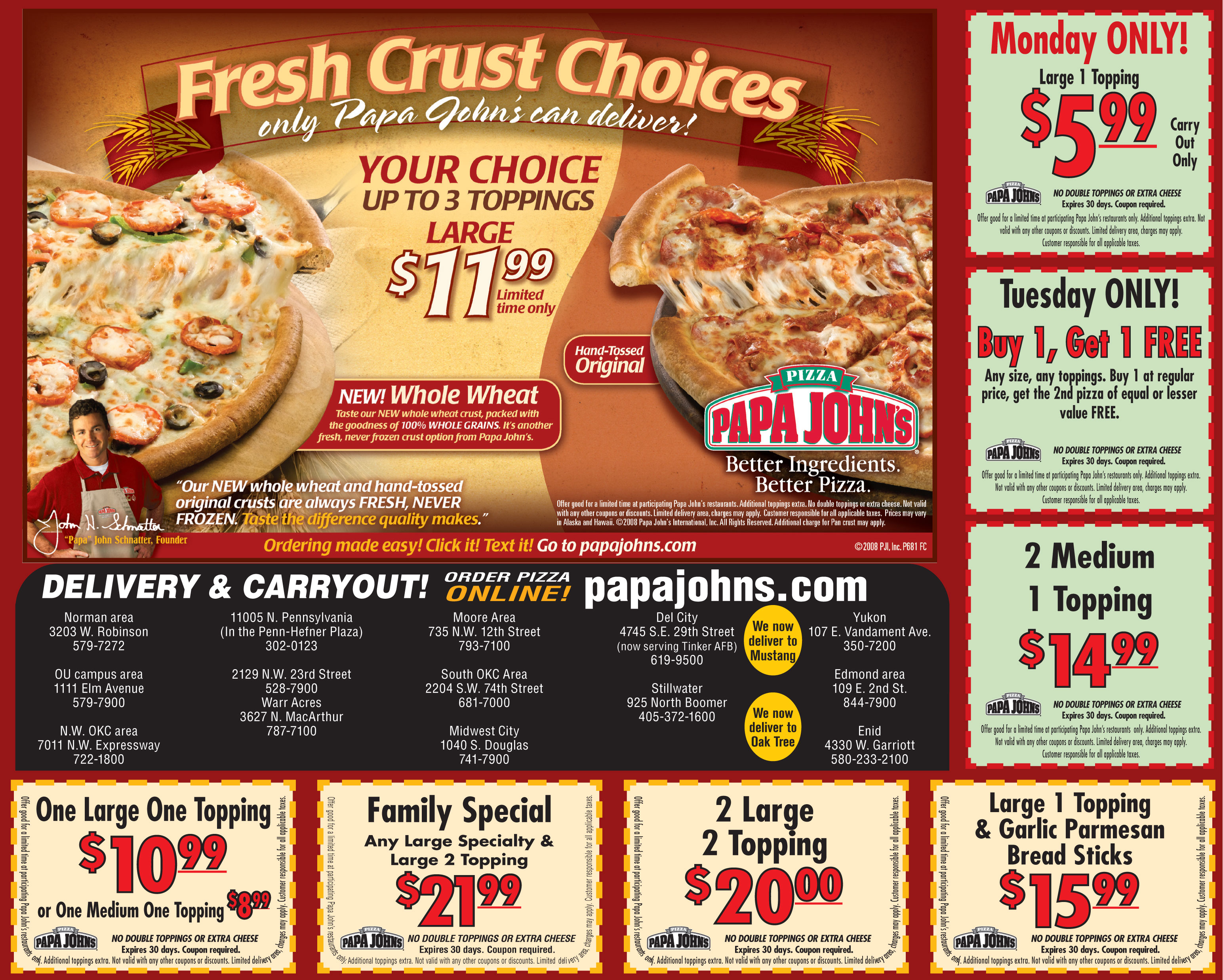 Papa Johns Coupons - December ; Papa Johns Coupons If you're pre-paying for your order and if your order is eligible for it, you will be able to use your Papa John's promo code simply by copying and pasting it as indicated. Enter other details as directed and confirm your order.4/5(2).