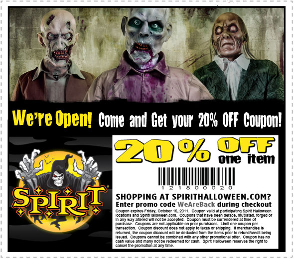 15 off costumes halloween coupons part city and Spirits
