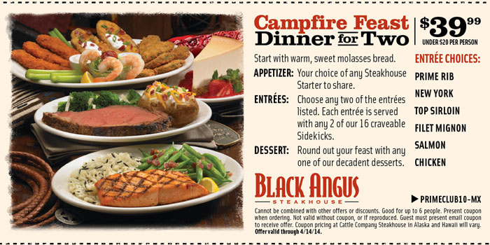 Black Angus Steakhouse is a restaurant chain based in Los Altos, California. It offers steaks, grilled seafood, desserts, soups, and salads. Patrons like the flavors available in the restaurant's menu, especially the quality of steaks and the discounts they can get by signing up with the Prime Club.