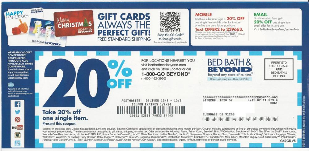 Bed Bath Beyond Online Coupon Code Canada
