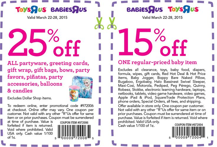 picture about Printable Toysrus Coupon named child retail discount coupons and codes (1)