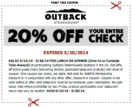 Outback Steakhouse Coupons Printable Coupons Online
