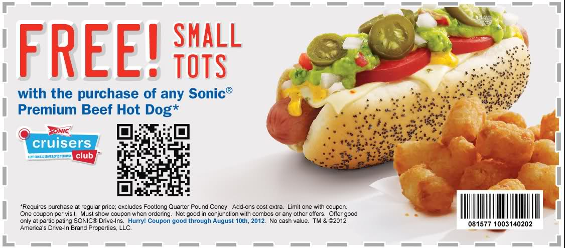photograph about Chili Printable Coupons identify Sonic enthusiasm inside printable discount coupons 2018 : Printable coupon for