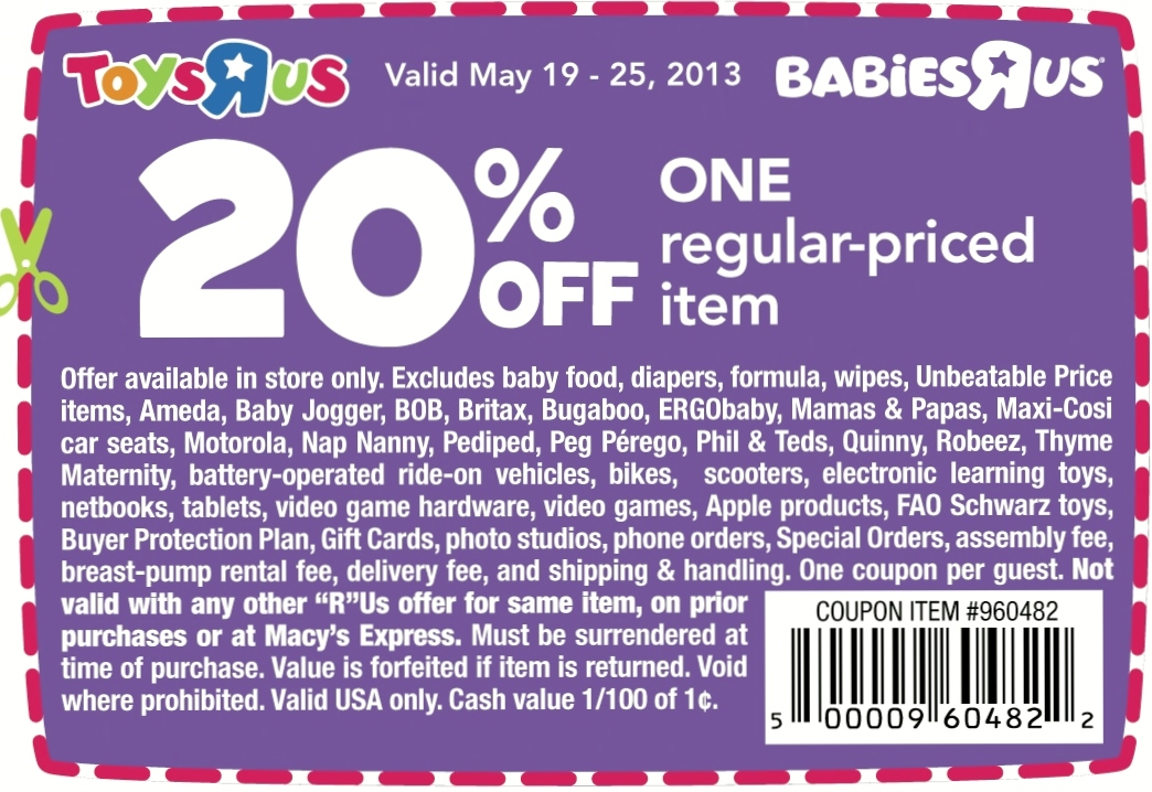 Sep 01,  · In Store: Print this rare coupon for Toys R Us stores and save $5 when you spend $20 or more on Back to school items. Free Thermos Bottle With $50 Purchase In store: Spend $50 or more in Toys r Us stores and get a free Thermos bottle. (a $ value). $8 Off Pampers Value Box Diapers In Store: These Toys R Us coupons take $8 off any pampers value box diapers priced at $/5(16).
