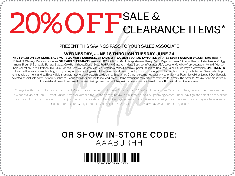graphic about Lord and Taylor Printable Coupon referred to as Discount coupons for lord and taylor 2018 / Namecoins coupon codes