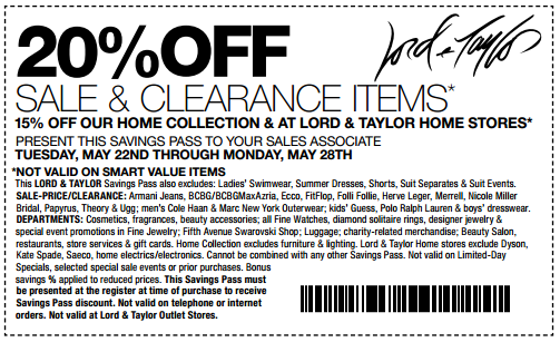 image regarding Lord and Taylor Printable Coupon named Lord taylor coupon codes within just retail store : Great 19 television promotions