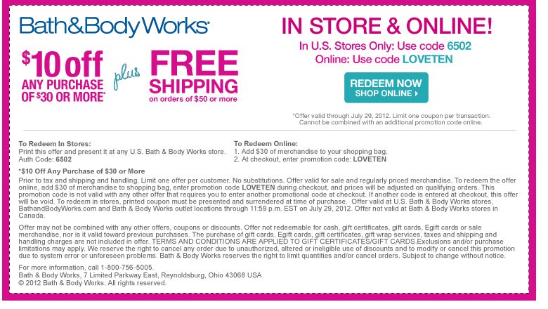 Bath and body works $10 off $30 printable coupon