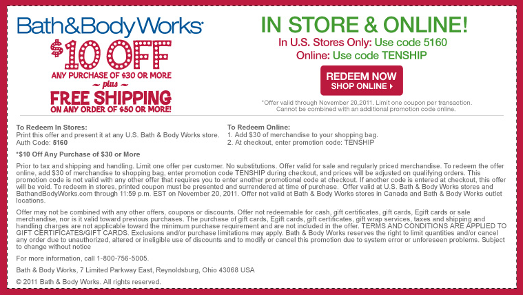 Bath and body works in store coupon april 2018