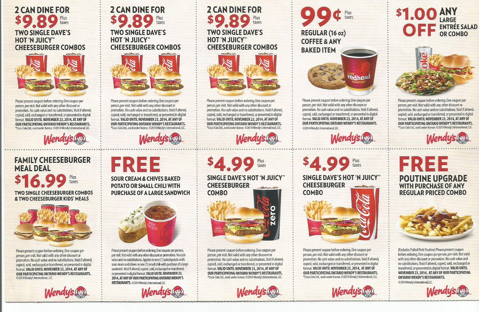 Promotional Voucer Sample Wendy Coupons Fast Food 2016 3