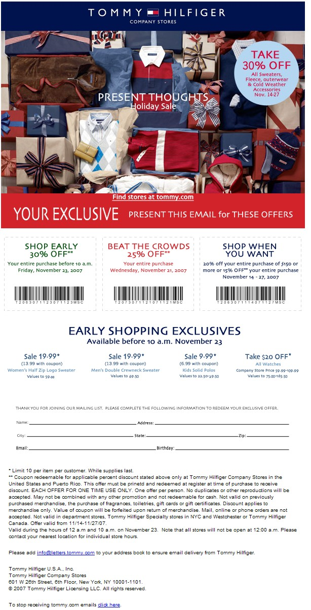 image relating to Tommy Hilfiger Coupon Printable named clothes-Tommy hilfiger printable discount codes Printable