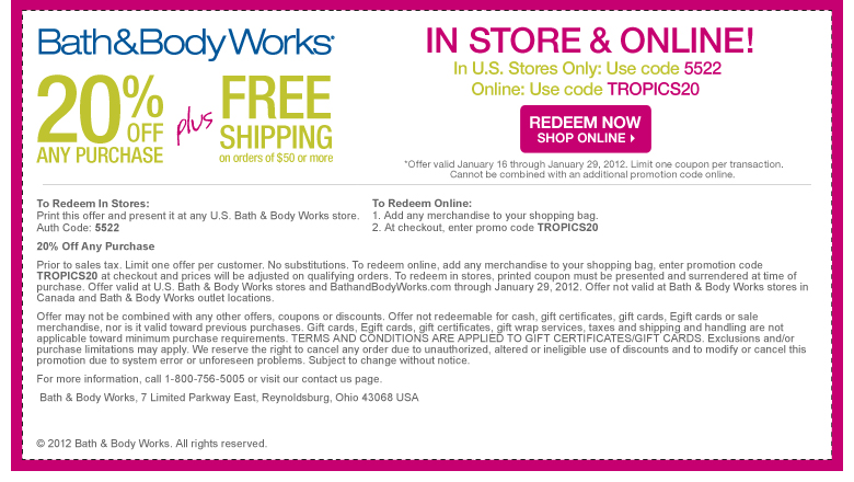 You can generally find Bath and Body Works coupon codes for 20% off the entire site; however, during their Black Friday and Cyber Monday sales, you'll see promotions and great deals up to 35% off your entire purchase and in store coupons%(K).