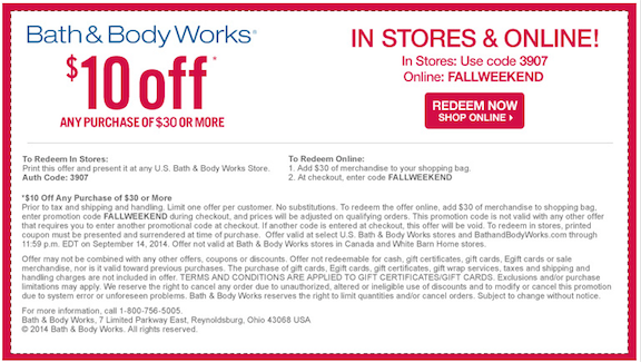 Bath and body works discount coupon