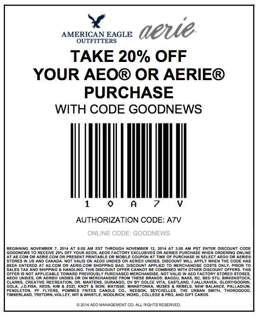 American eagle 20 coupon codes