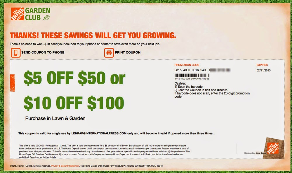 Coupon code for home depot