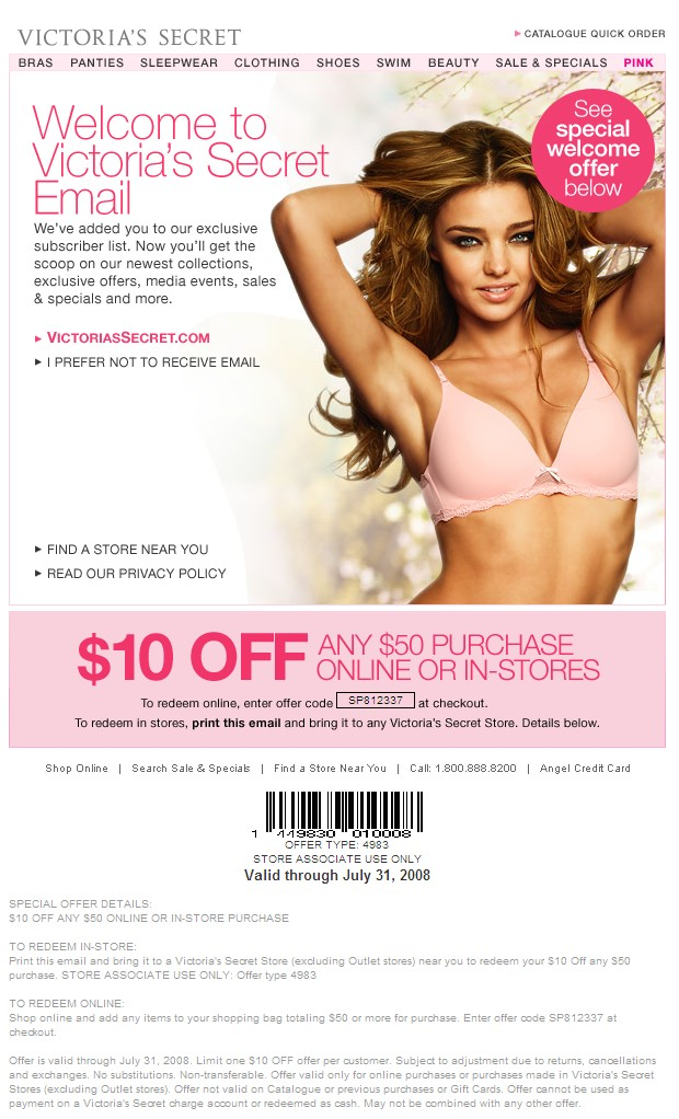 Redeem Your $20 Reward Card on $50 Purchase. Get 37 Victoria's Secret coupons, 22 promo codes or 3 free shipping offer code for December