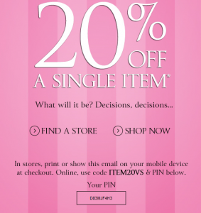 Victoria's Secret coupons-august-20-off