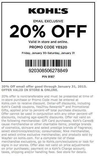 Save 25% at Kohl's with coupon code HOL (click to reveal full code). 28 other Kohl's coupons and deals also available for December