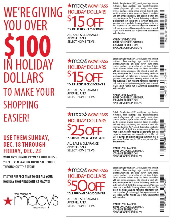 Get Macy's coupons delivered via text message! Text the code listed here to to receive a coupon for 25% off your entire purchase! While it is free to sign up, your carrier's messaging rates will apply.