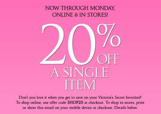 graphic regarding Victoria Secret Coupons Printable known as printable Victorias Solution discount codes-july-20-off Printable