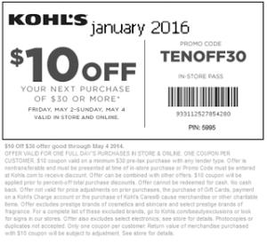 Kohls coupons january 2016