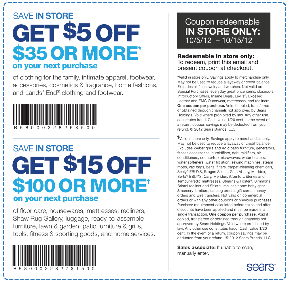 online coupons codes for sears