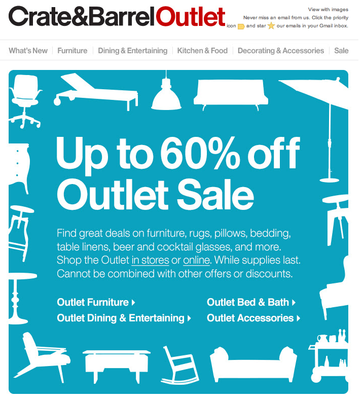 Find Crate and Barrel coupons, discounts and special promotion codes. Browse our selection of active coupons for furniture and housewares.