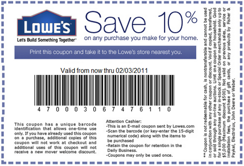 10% Off Every Day Coupon | Lowe's Military Discount. Lowe's established the 10% Military Discount to support veterans and active men and women serving our country. Your discount is good every day online and in-store. All you have to do is follow the link and sign up to be verified/5(15).