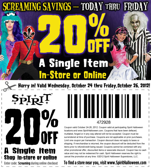 Use one of 10 Spirit Halloween coupons including coupon codes and product sales for December No matter if you have a costume in mind or need a little inspiration, Spirit Halloween has a huge collection of costume and Halloween accessories to get you on your way to being spooky.