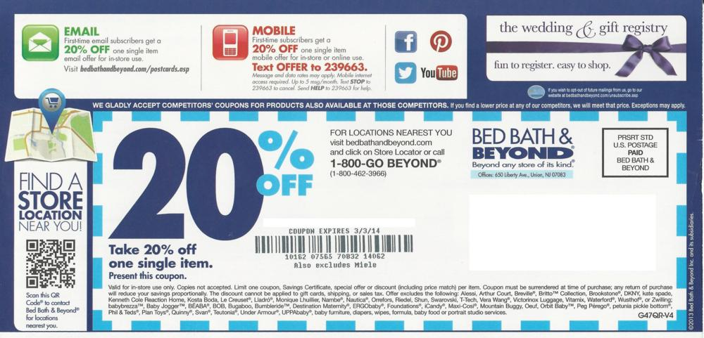 Past Bed Bath & Beyond Coupon Codes