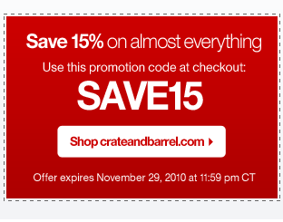 CRATE AND BARREL PROMOTION CODE